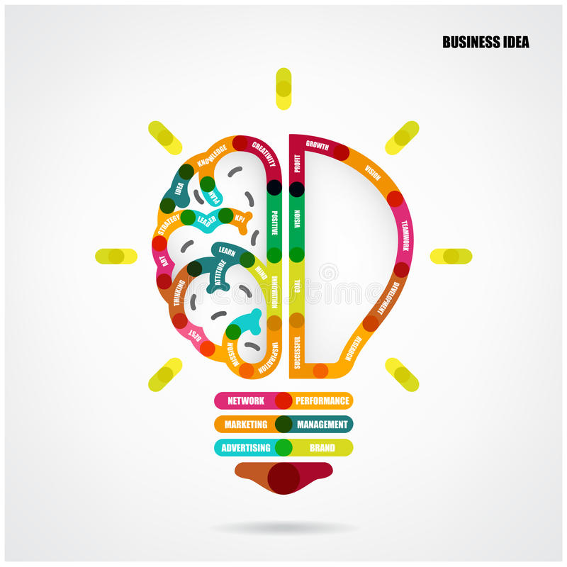 Creative light bulb concept with business idea background vector illustration