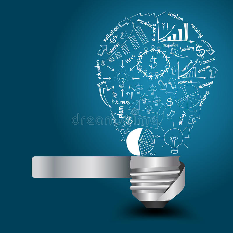 Vector light bulb with drawing business strategy p royalty free illustration