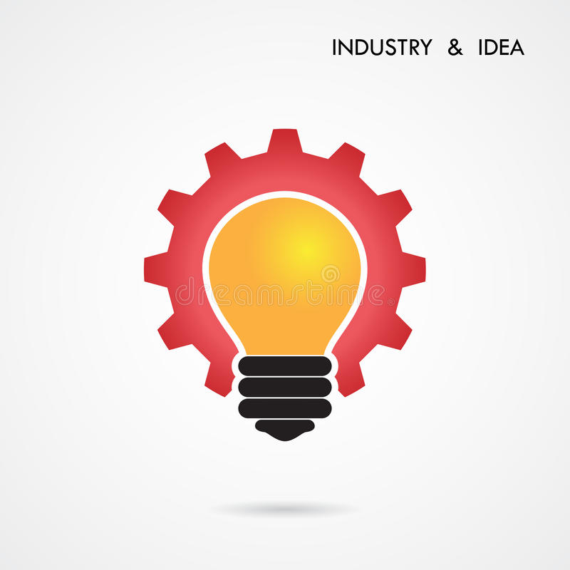 Creative light bulb and gear abstract vector design banner template. vector illustration