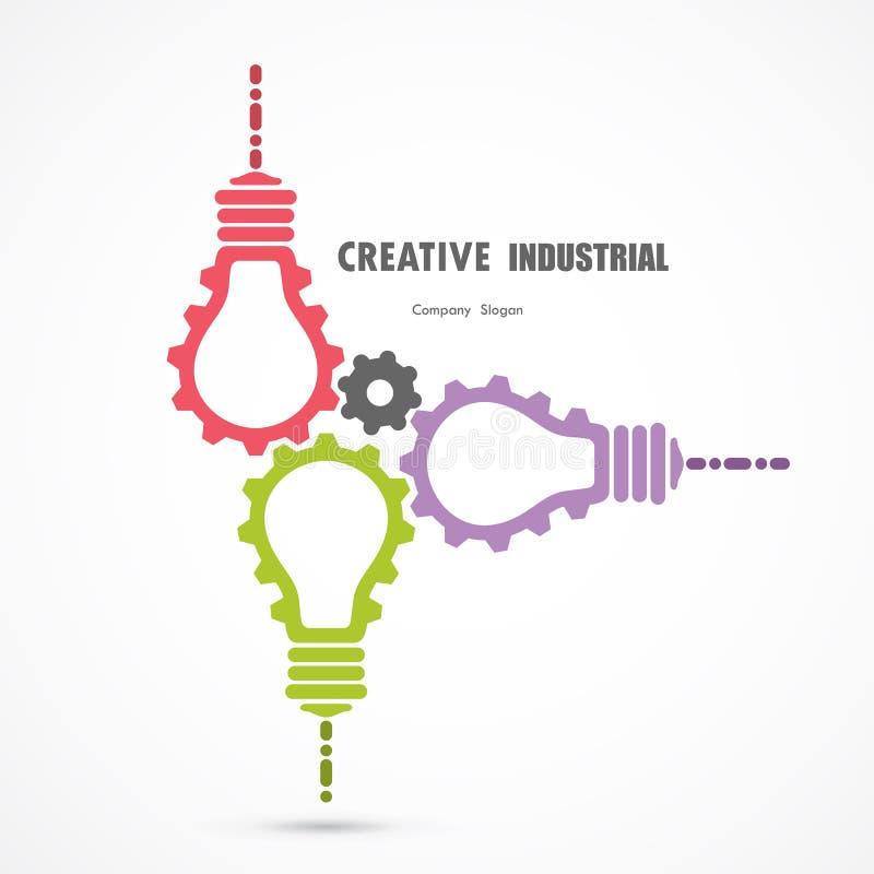 Creative light bulb and gear abstract vector design banner vector illustration