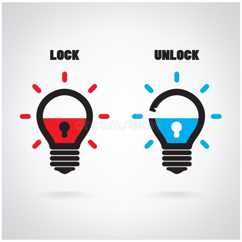 Free Creative Light Bulb Idea Concept With Padlock Symbol. Security S Royalty Free Stock Photo - 44055155