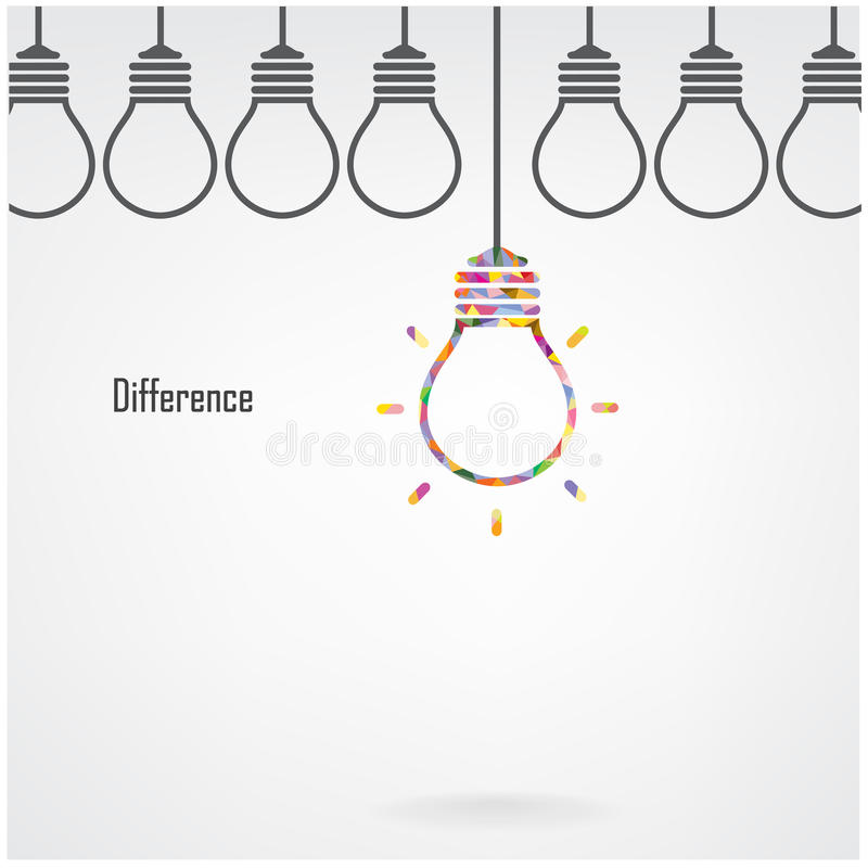 Creative light bulb idea and difference concept vector illustration