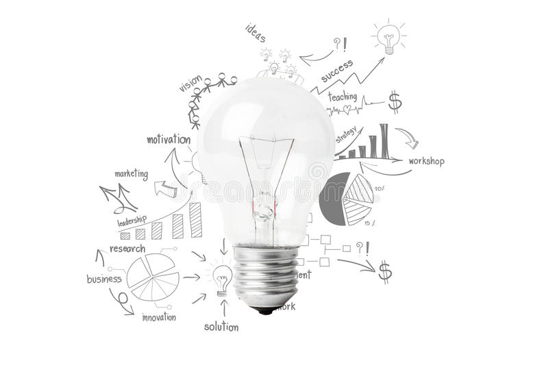 Download Creative Light Bulb Idea With Drawing Business Success Strategy Stock Illustration