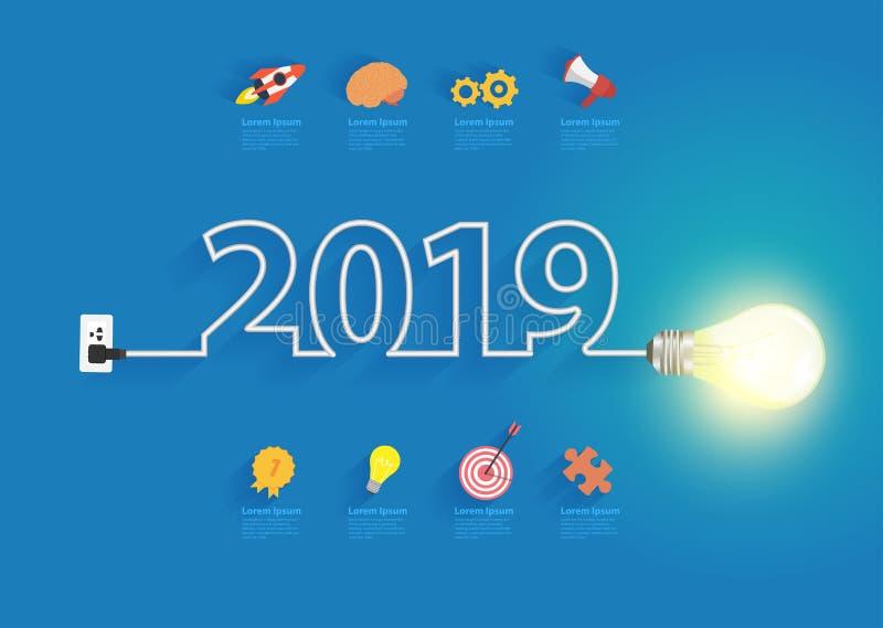 Creative light bulb idea with 2019 new year design. Inspiration business plan, marketing strategy, teamwork, brainstorm ideas concept, Vector illustration royalty free illustration