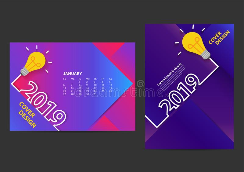Creative light bulb ideas 2019 new year design template for brochure. Annual Report, Magazine, Poster, Corporate Presentation, Portfolio, Flyer, layout modern royalty free illustration