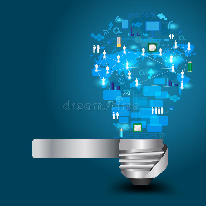 Vector light bulb with technology business Network vector illustration