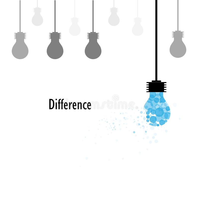 Creative light bulbs vector logo design template and Difference. Concept.Business,Education and Industrial idea. Vector illustration stock illustration