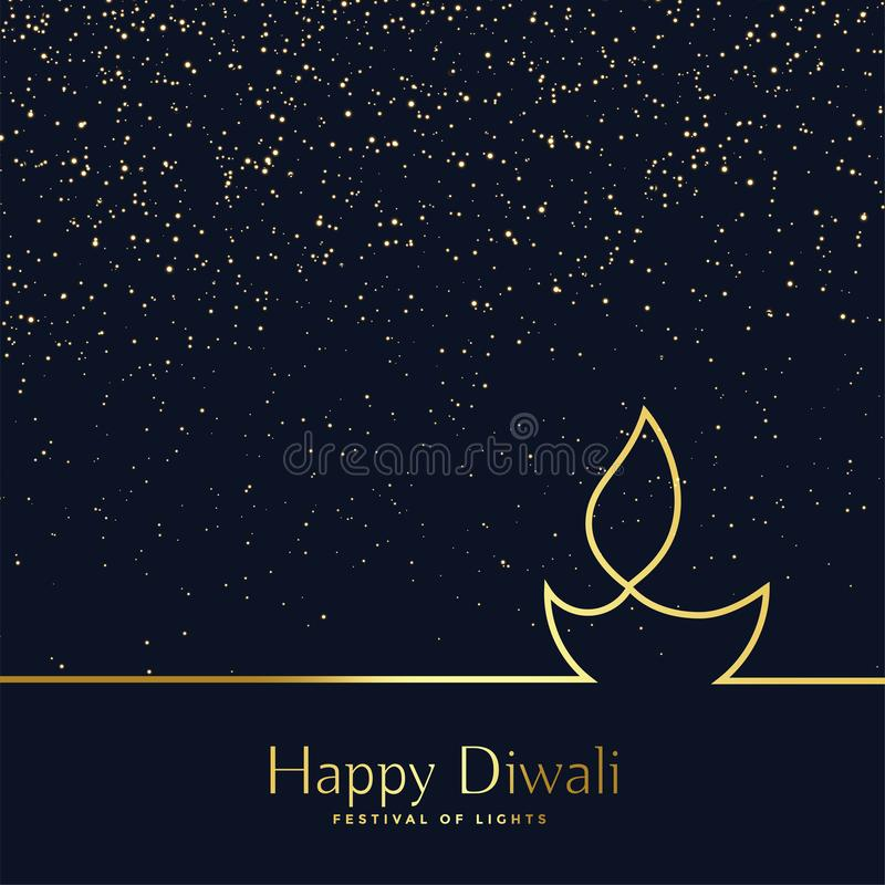 Creative line art diwali diya background vector illustration