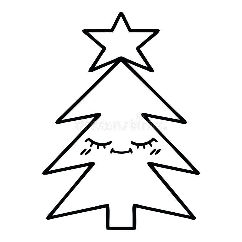 Cartoon Christmas Tree Holidays Xmas Festive Decoration Cute