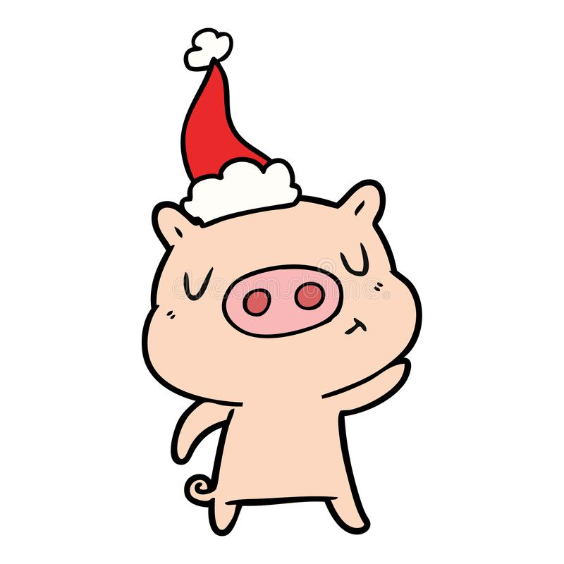 A creative line drawing of a content pig wearing santa hat. An original creative line drawing of a content pig wearing santa hat vector illustration