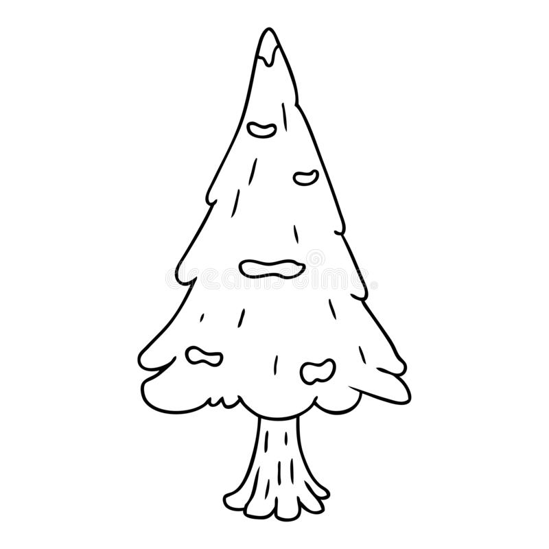 A creative line drawing doodle single snow covered tree. An original creative line drawing doodle single snow covered tree vector illustration