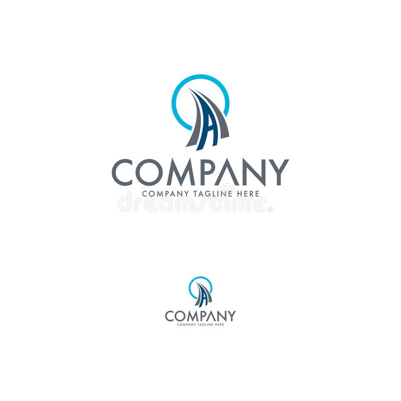 Creative logistic and letter A logo stock illustration