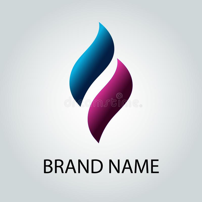Creative vector logo design in the form of 3d blue and purple waves  on isolated background. Vectorillustration  logo design in the form of 3d blue and purple royalty free illustration