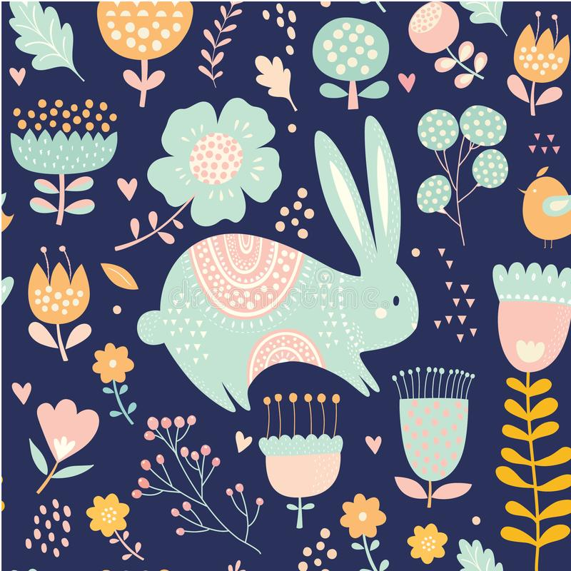 Watercolor Animal Floral Leaves Seamless Pattern Background. Art vector illustration