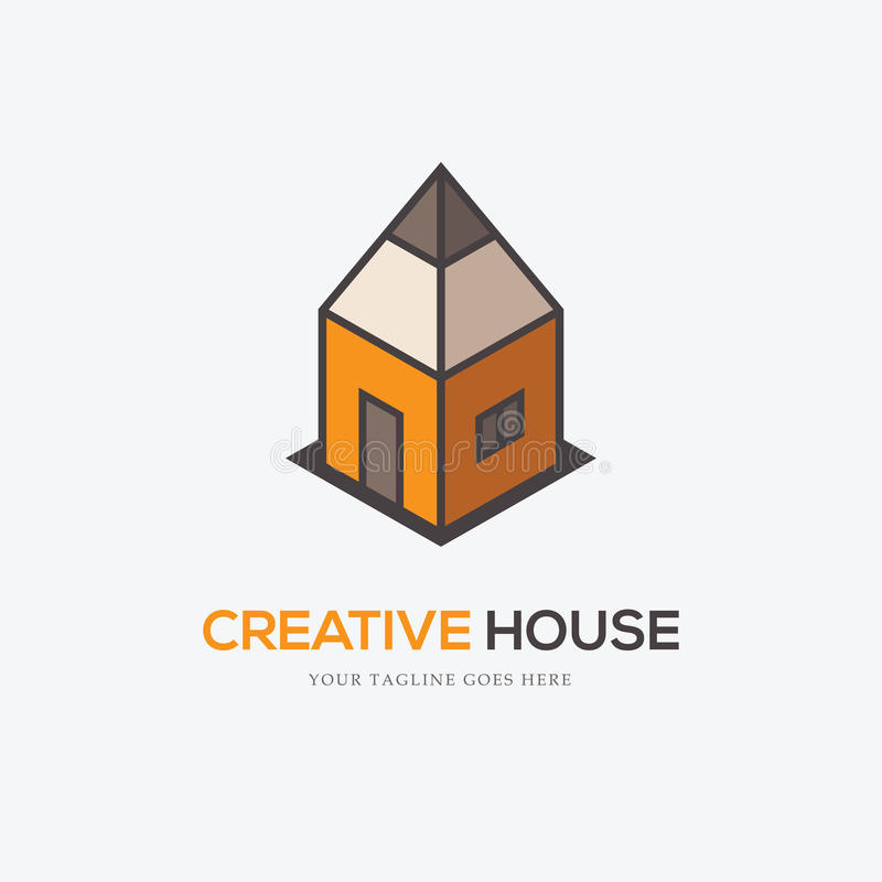 Creative logo with pencil and house royalty free illustration