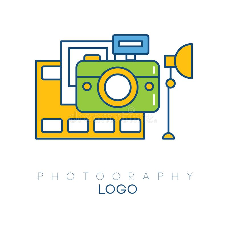 Creative logo template with camera, film strip, light box and picture. Linear emblem with yellow, blue and green fill royalty free illustration