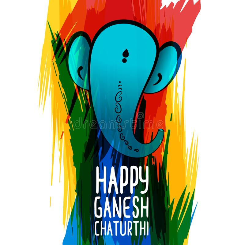 Creative lord ganesha watercolor background design. Vector royalty free illustration