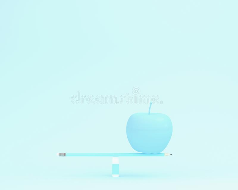 Creative made of apple on balance scale on blue color background. Minimal food concept. depicts balancing between health and working, education vector illustration