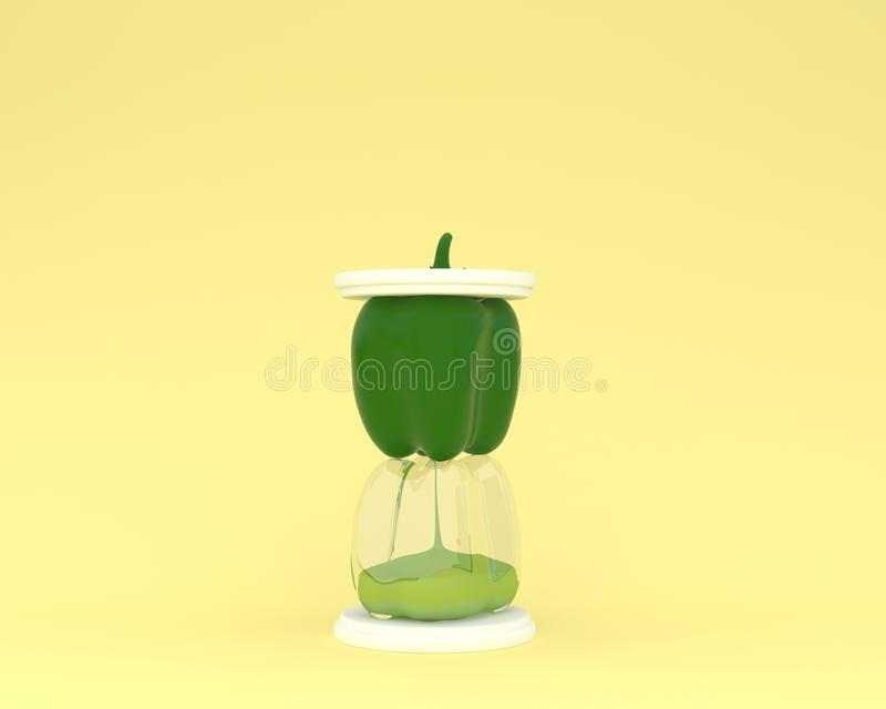 Creative made of bell pepper hourglass on yellow color background. minimal idea vegetable concept. food ideas creatively to. Produce work within an advertising stock photography