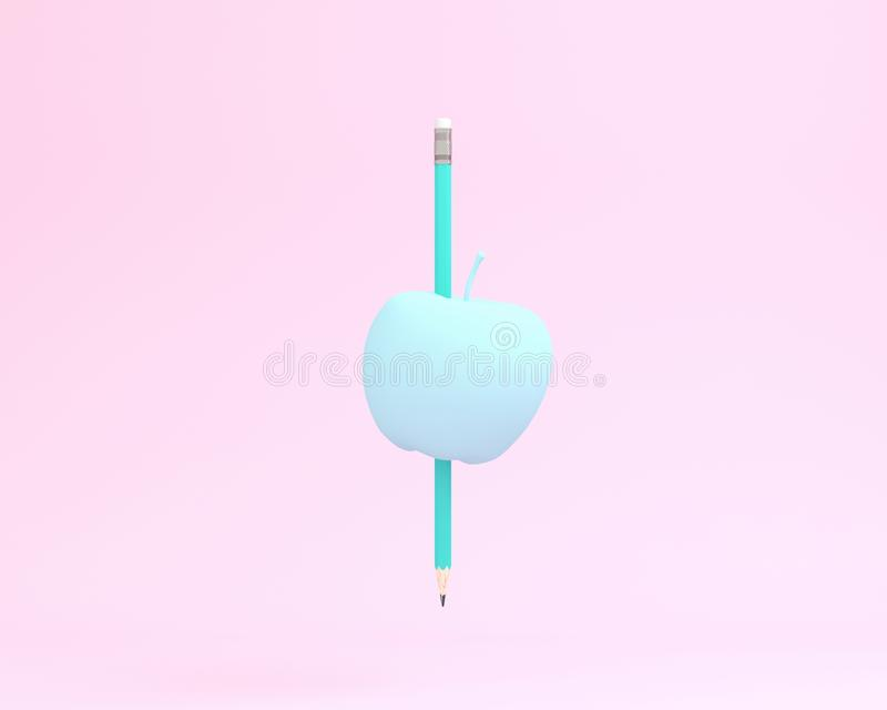 Creative made of blue pencil with apple on pink color background vector illustration