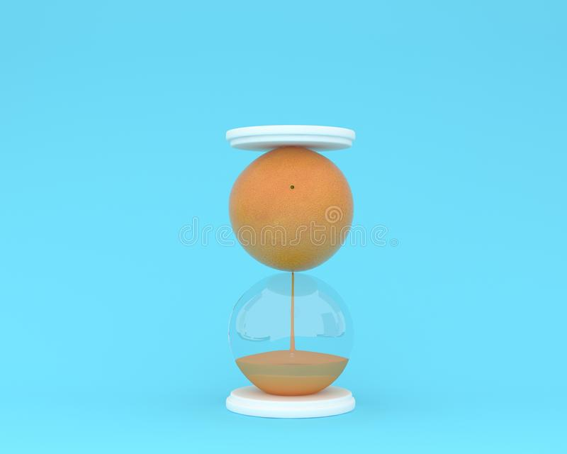 Creative made of fresh orange fruit hourglass on pastel blue background. minimal idea business concept. food ideas creatively to. Produce work within an stock image