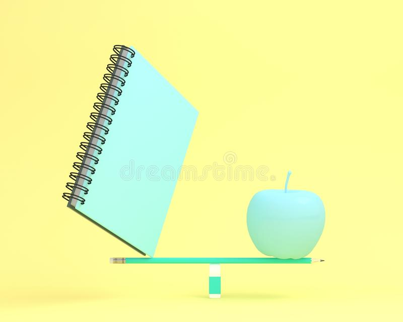 Creative made of notebook with apple on balance scale on yellow. Color background. minimal idea business concept. depicts balancing between health and working royalty free illustration