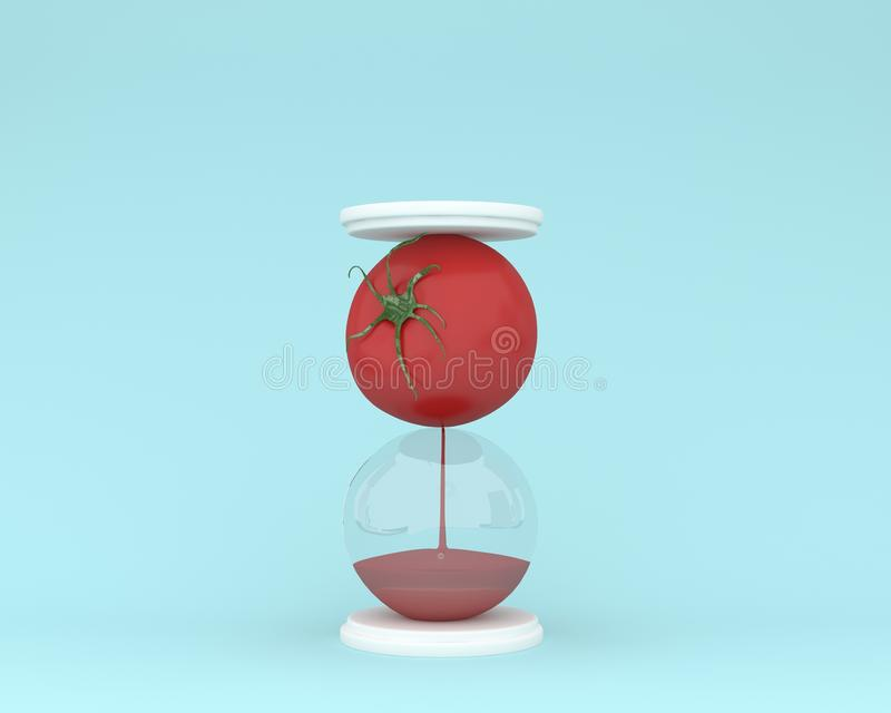 Creative made of tomato hourglass on blue color background. mini. Mal idea vegetable concept. food ideas creatively to produce work within an advertising royalty free illustration