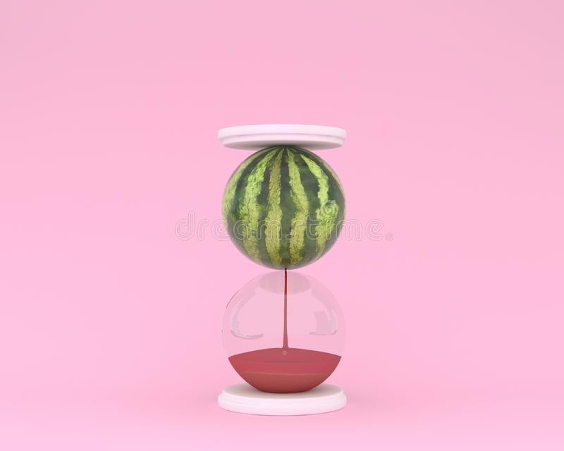 Creative made of watermelon hourglass on pink color background. Minimal idea business concept. food ideas creatively to produce work within an advertising stock photos