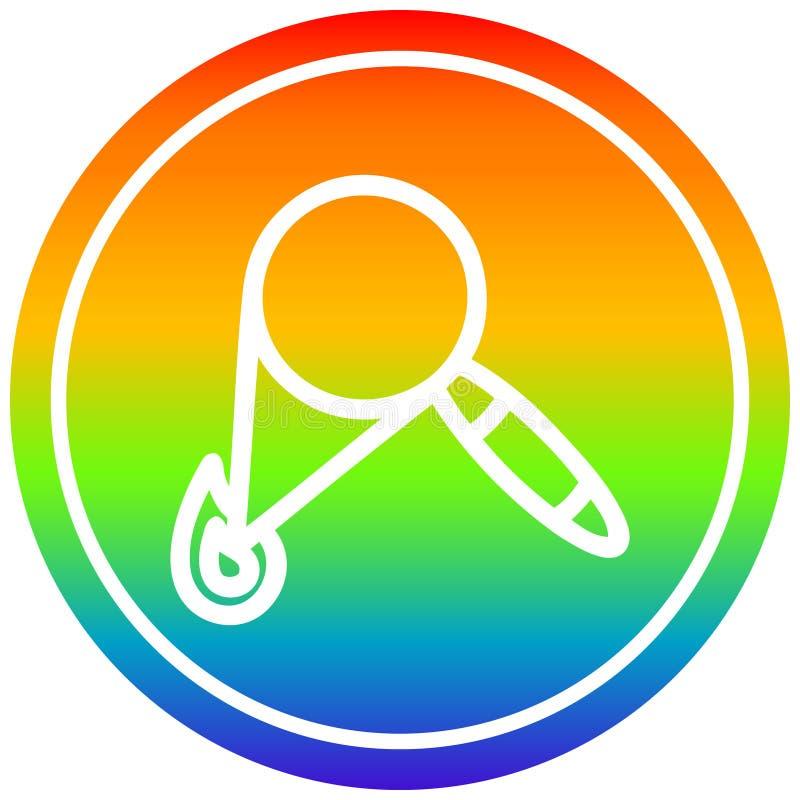 A creative magnifying glass burning circular in rainbow spectrum. An original creative magnifying glass burning circular in rainbow spectrum stock illustration
