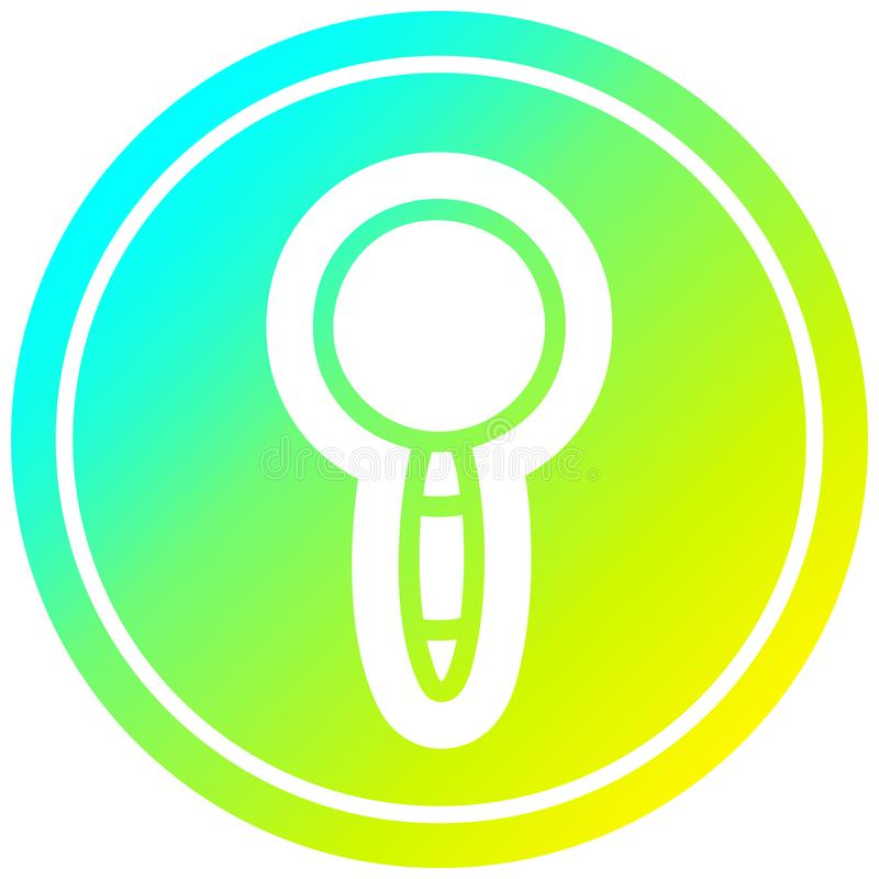 A creative magnifying glass circular in cold gradient spectrum. An original creative magnifying glass circular in cold gradient spectrum stock illustration
