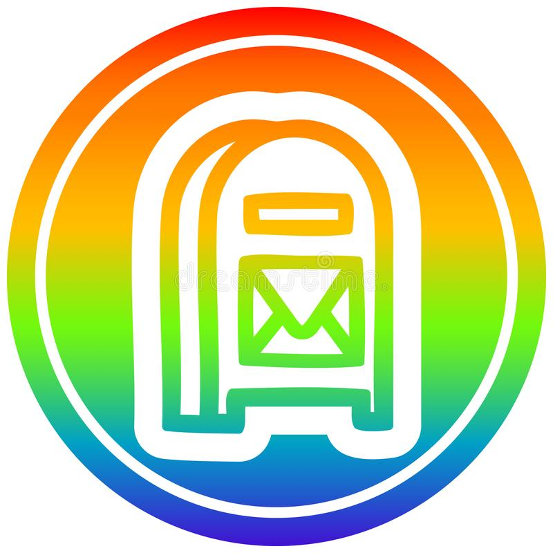 A creative mail box circular in rainbow spectrum vector illustration