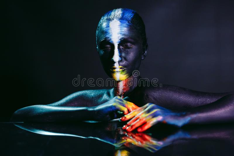 Creative make-up and beauty body art theme. royalty free stock photo