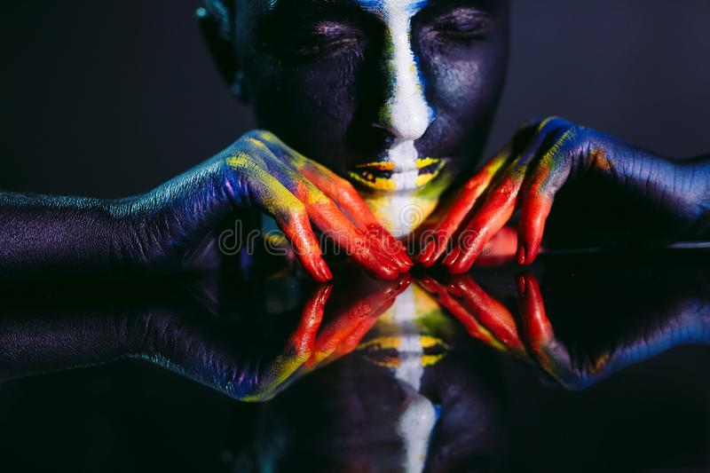 Creative make-up and beauty body art theme. Creative make-up and beauty body art theme stock photography