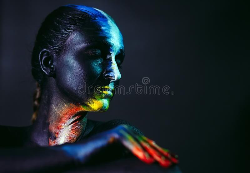 Creative make-up and beauty body art theme.  royalty free stock photos