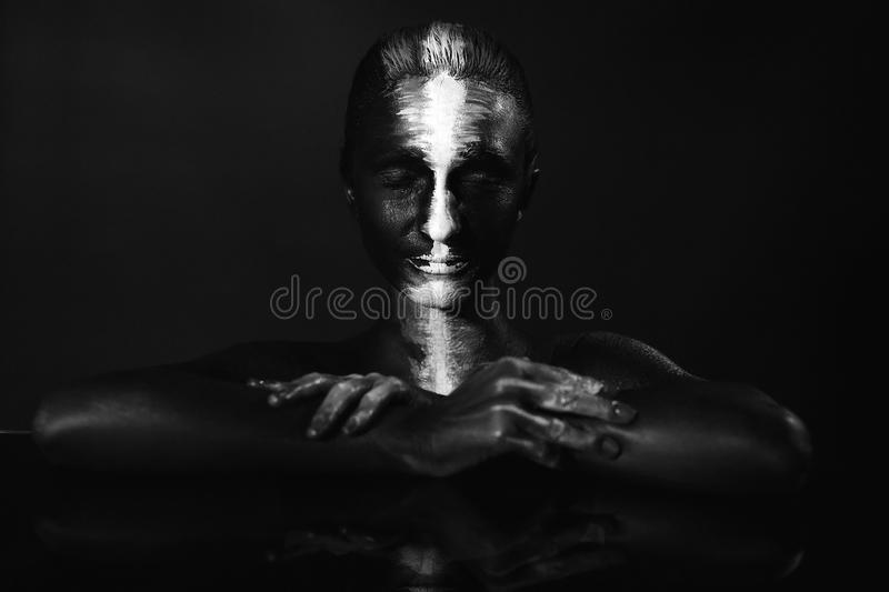 Creative make-up and beauty body art theme.  royalty free stock images