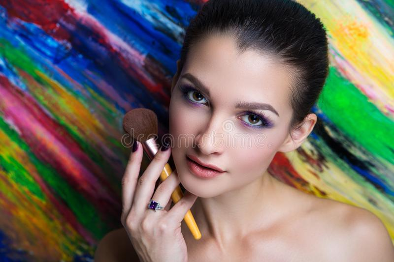 Woman art make up stock image