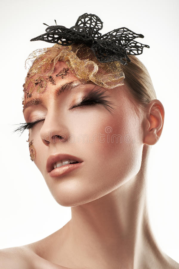 Creative Makeup. False eyelashes. Beauty portrait. stock photography