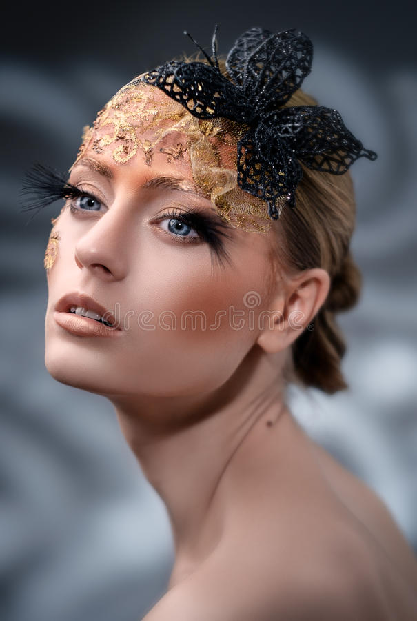 Creative Makeup. False eyelashes. Shallow depth of field royalty free stock image