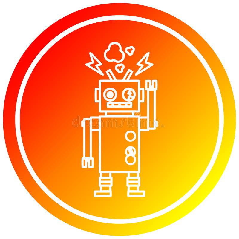 A creative malfunctioning robot circular in hot gradient spectrum. An original creative malfunctioning robot circular in hot gradient spectrum stock illustration