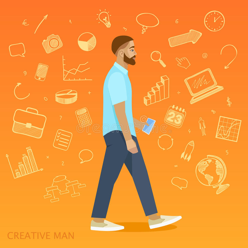 Creative man on orange background, business icons vector illustration