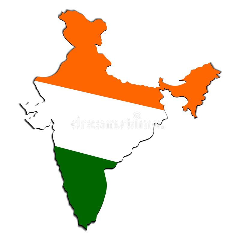 Creative map of India with national Indian tricolor flag. Design element with shadow. Template for background, banner vector illustration