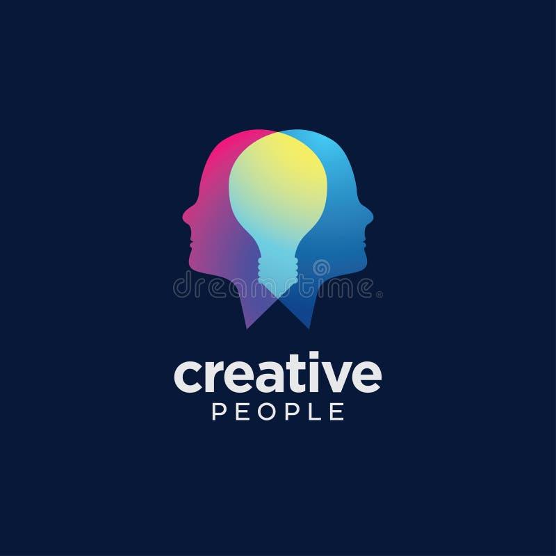 Abstract overlapping human head logo. Digital Abstract overlapping human heads with hidden symbol light bulb to convey creative team royalty free illustration