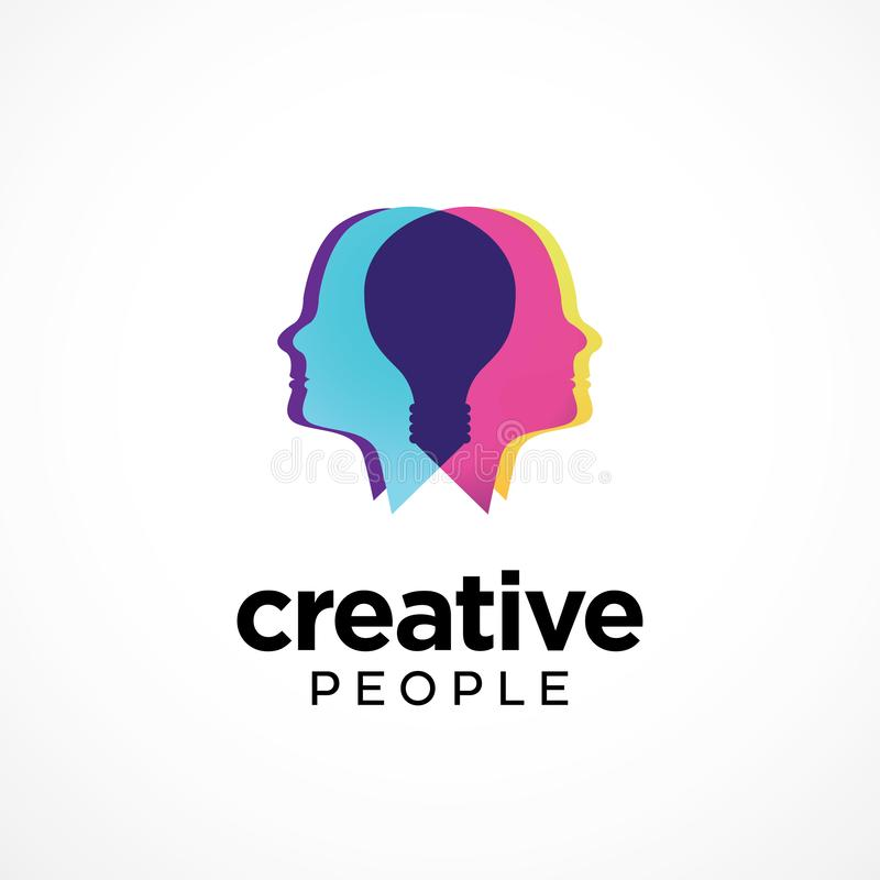 Creative People logo template with overlapping head. Overlapping heads forming light bulb in the center to convey creativity vector illustration