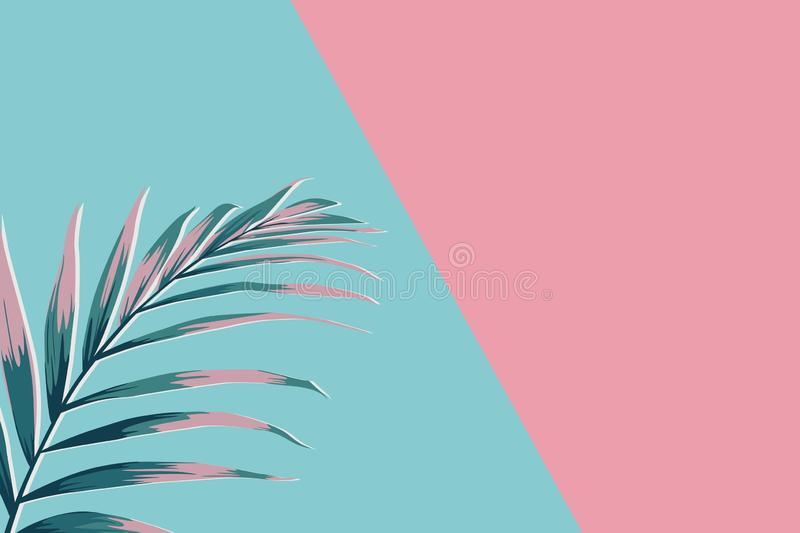Creative minimal summer idea. Green pink palm leaf branches. Tropical exotic background with empty space for text. royalty free illustration