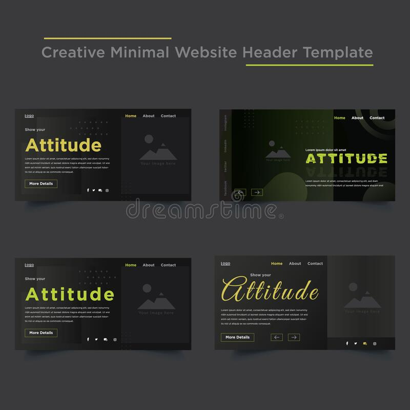 Creative Minimal Website Header Templates Design Stock Vector Illustration Of Black Campaign 182283986