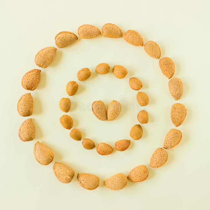 Creative and minimalist composition layout of almonds nuts. Concept- healthy lifestyle, vegetarianism, raw food, vegetable protein royalty free stock photography