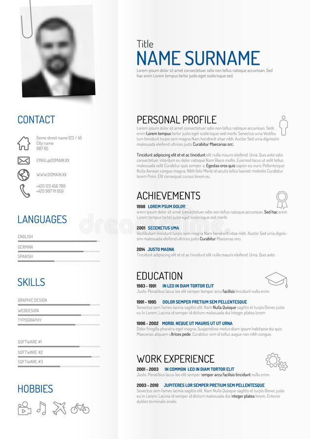 creative minimalist cv    resume template stock vector