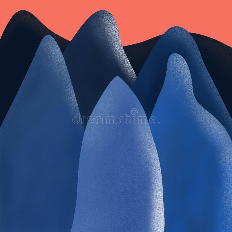 Creative modern illustration of a blue mountains at red sunset, digital illustration of a mountain at sunset.  royalty free illustration
