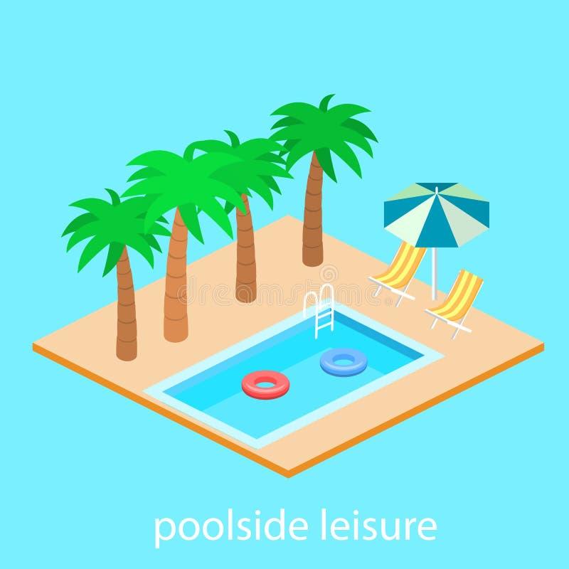 Creative modern isometric design of swimming pool royalty free illustration