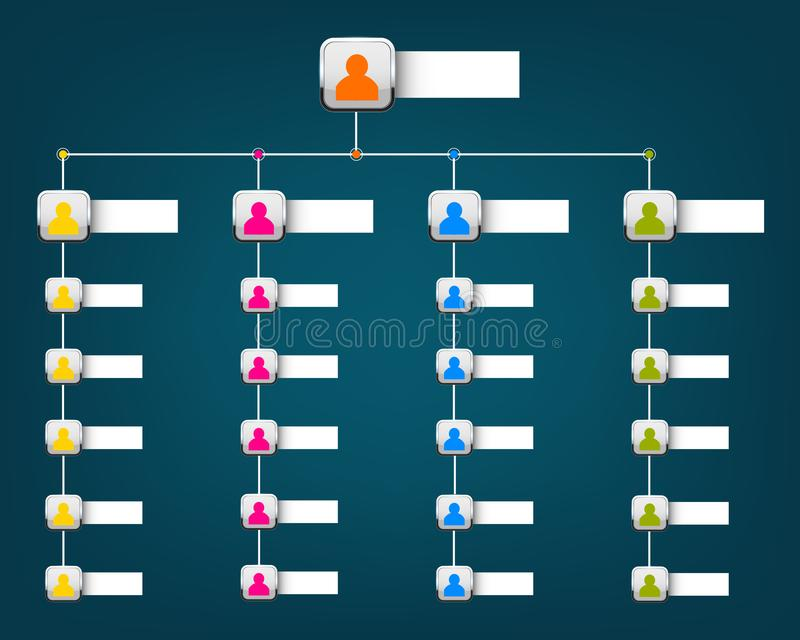 Creative modern style illustration corporate organizational chart slide of isolated on background. Business work flowchart process. Art design blank template stock illustration